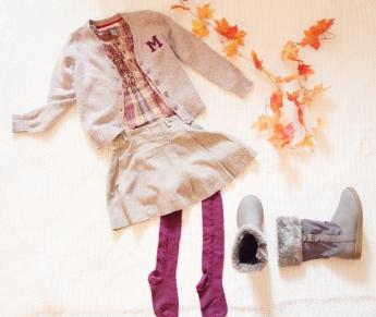 Mango sveter, košela a sukňa Zara, pančuchy Matalan, čižmy Mayoral