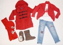 Kabát, svetrík a skinny rifle GAP, tričko NEXT, čiapka a šál Mayoral, čižmičky UGG Australia